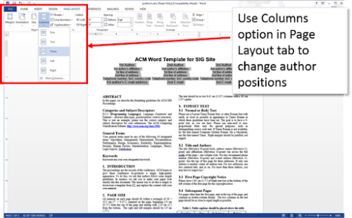 Use Word's Columns option in the Page Layout tab to change author positions