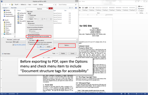When exporting to PDF use the